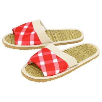 藺草蓆拖鞋 紅 學士風格 M 8041