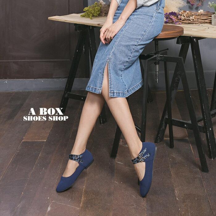 格子舖*【AA9930】MIT台灣製 卡哇伊麂皮豹紋金屬釦環繞踝 舒適柔軟鞋墊  圓頭包鞋 2色 1