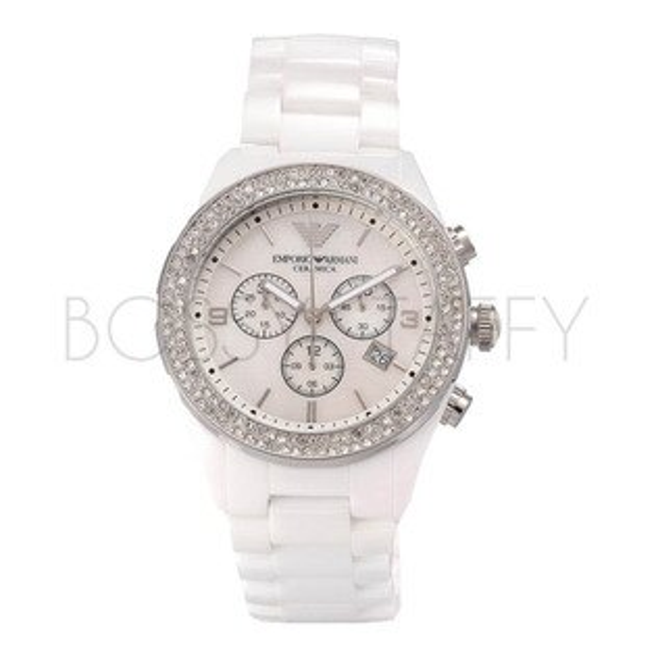 AR1456 ARMANI 亞曼尼 時尚陶瓷白色鑲鑽錶 女錶