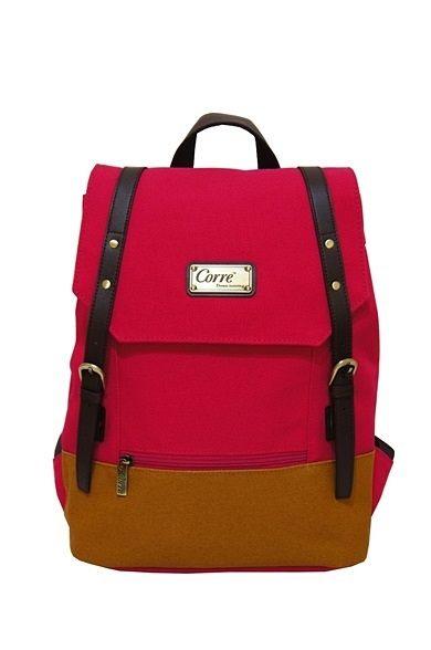 CORRE【CP606】-帆布雙皮扣後背包 共三色 藍/紅/桃紅 3