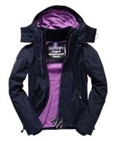 Superdry極度乾燥商品推薦【蟹老闆】SUPERDRY 經典基本款 紫色內裡深藍色外套 防風外套 防潑水機能性風衣外套 黑標 女款