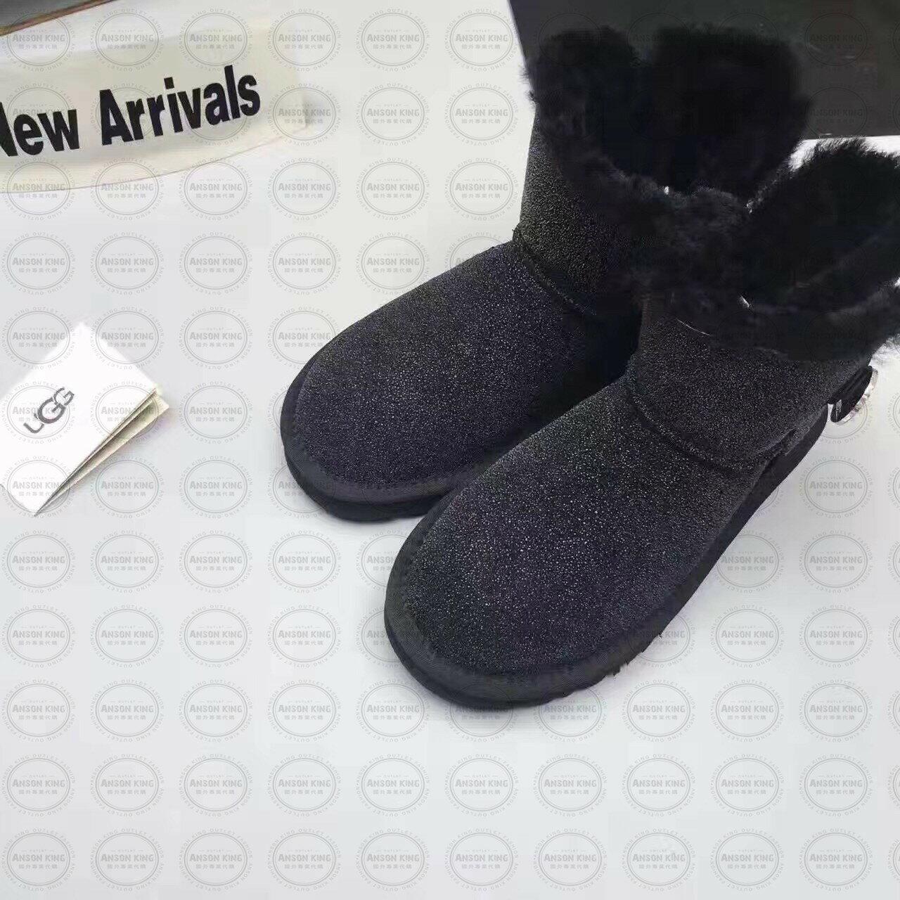 OUTLET正品代購 澳洲 UGG 明星同款水晶扣短靴 保暖 真皮羊皮毛 雪靴 短靴 黑色 0