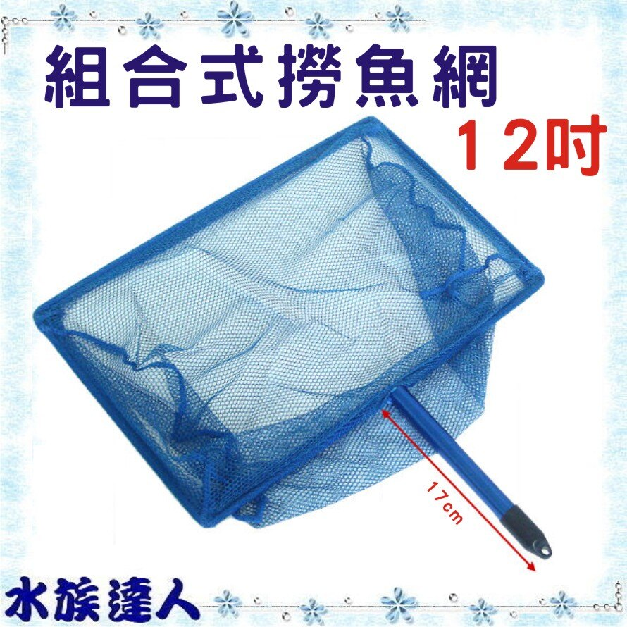 ~水族 ~~藍色 式撈魚網.網架 伸縮式握桿 12吋~撈魚網 撈蝦網 ~  好康折扣
