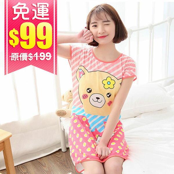 (99免運) 韓版卡通牛奶絲居家連身裙 居家服