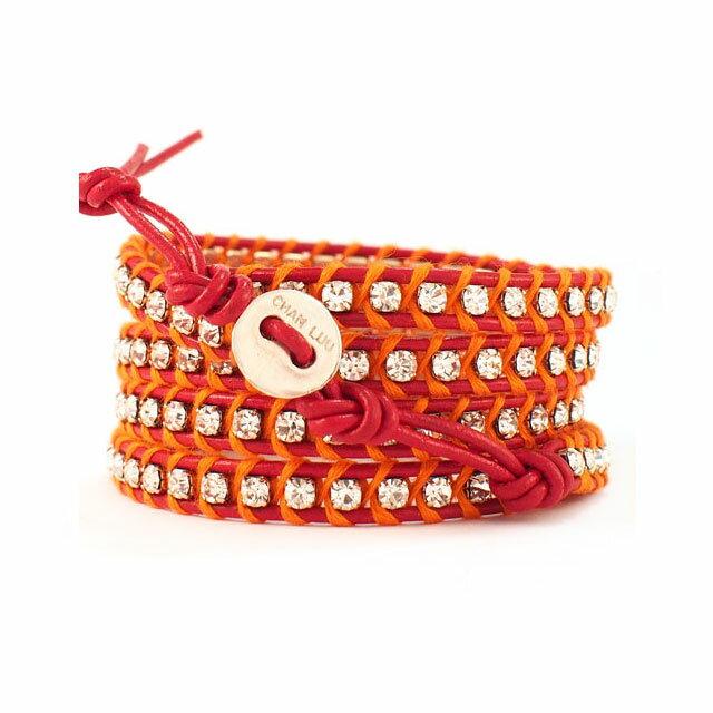 【現貨商品】【CHAN LUU】水鑽寶石紅色x螢光橘皮繩手環/5圈(CL-BSZ-3305Cry  Red/Neon Orenge  06239700KL) 1
