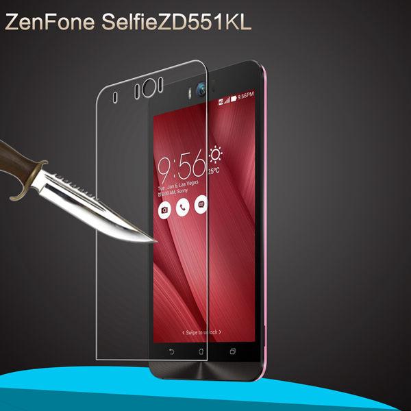 華碩Asus ZenFone Selfie 鋼化膜 9H 0.3mm弧邊 耐刮防爆玻璃膜 ZD551KL 防爆裂高清貼膜 高清防污保護貼