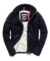 Superdry極度乾燥商品推薦[女款] Outlet英國 極度乾燥 Superdry Hooded Sherpa 加厚保暖菱格紋絎縫羊羔絨防風衣 女款 海軍藍