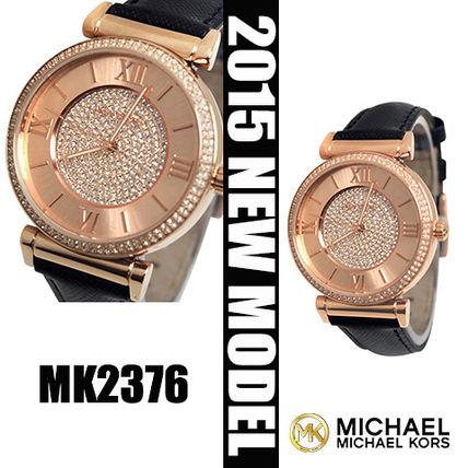 美國Outlet 正品代購 MichaelKors MK 玫瑰金鑲鑽 黑色皮帶三環計時手錶腕錶 MK2376 0