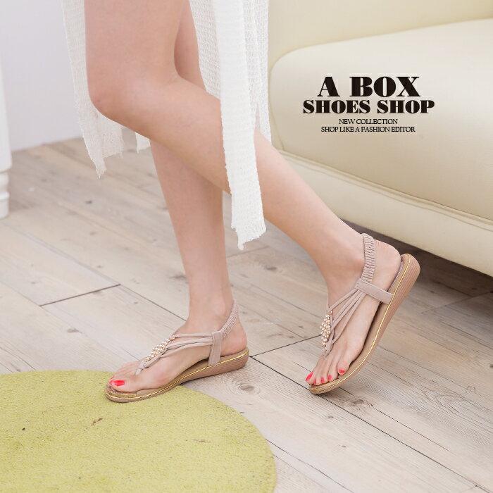 格子舖*【ANS321】簡約時尚質感絨布 金屬水鑽墜飾 鬆緊帶人字夾腳涼鞋 3色 1