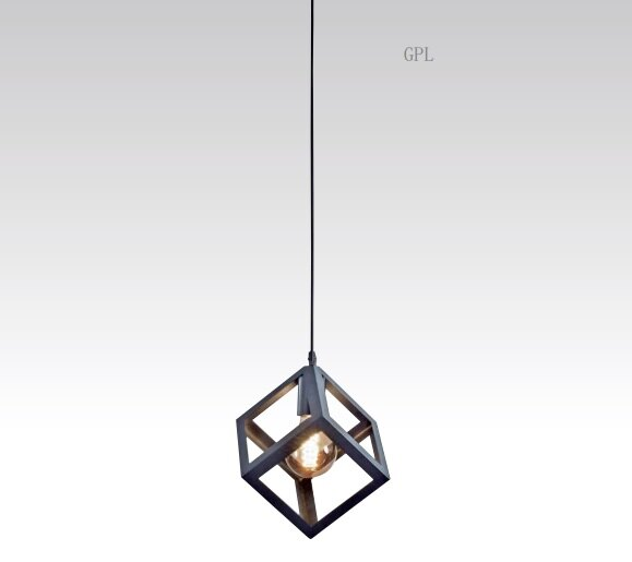 鐵藝方形單吊燈 E27 * 1
