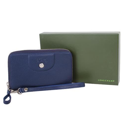 【LONGCHAMP】 Le Pliage Cuir系列小羊皮手拿/零錢包(深藍) 4