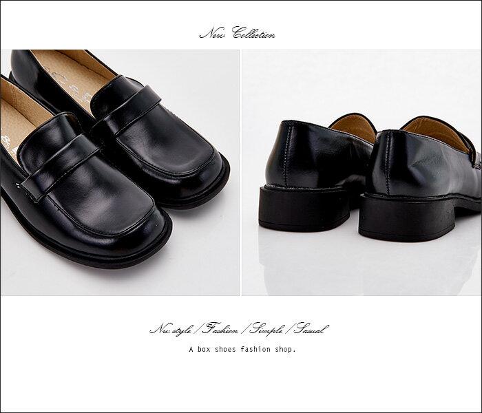 格子舖*【KBCD-017】MIT台灣製 學院風透氣亮皮 3cm粗低跟 學生皮鞋 休閒皮鞋 黑色 1
