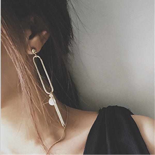 PS Mall 飾品 百搭  簡約風 珍珠鏈條別針 長款耳環耳飾~G2242~ ~  好康
