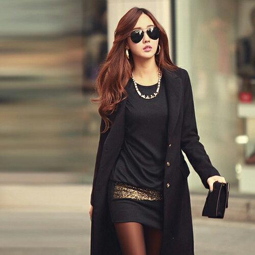 短洋裝 - 拼接金蔥造型修身長袖連衣裙(可當上衣單穿)【29205】藍色巴黎《2色》現貨 + 預購 1