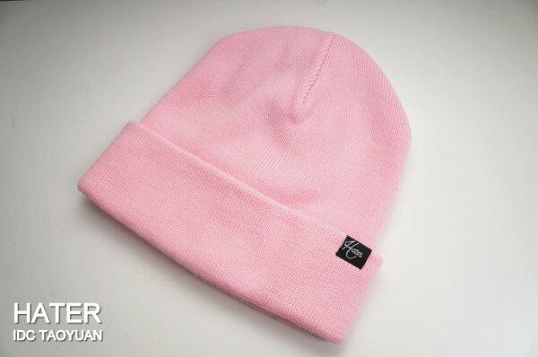 ►法西歐_桃園◄ HATer Beanie Standard 布標 Logo 針織 毛帽 白 粉紅 麻花灰 黑 共四色 粉紅