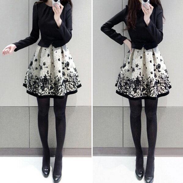 PS Mall 韓版拼接印花收腰長袖連身裙 傘狀下擺洋裝【T707】