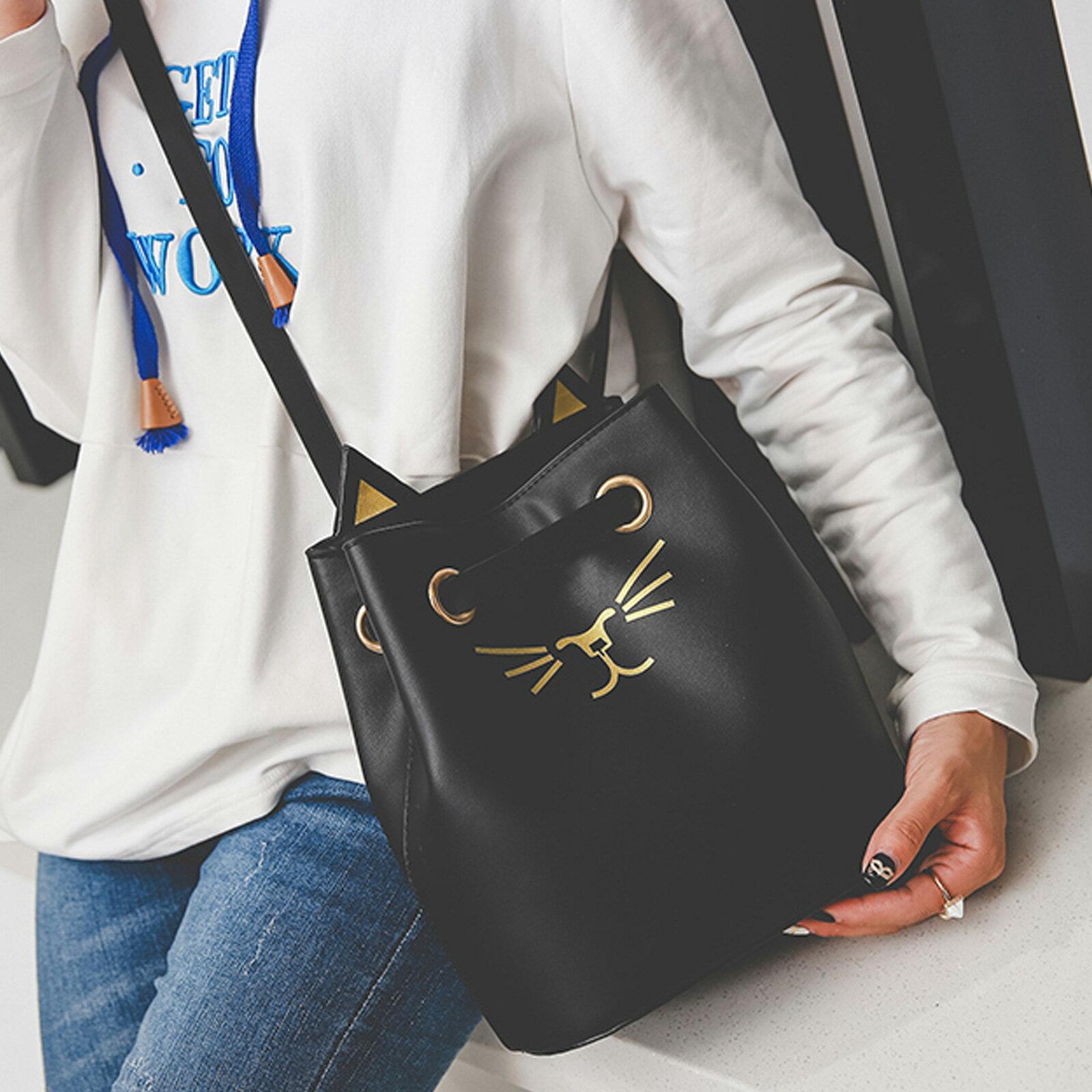 側背包 超萌貓臉刺繡皮革側背水桶包【O3212】☆雙兒網☆ 1