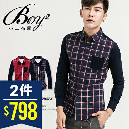☆BOY-2☆ 【NQ97011】長袖襯衫大格紋撞色口袋 0