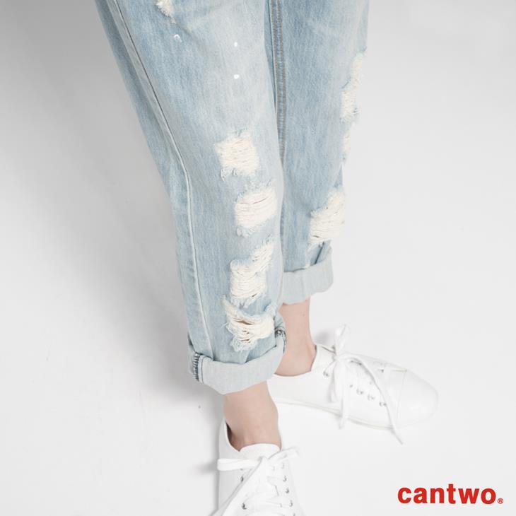cantwo貓抓潑漆丹寧男友褲(共一色) 4