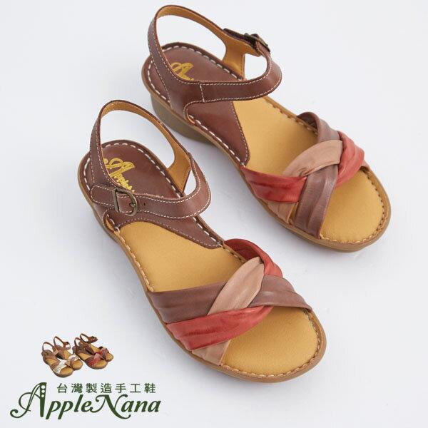 AppleNana。外銷日本絕對好穿軟牛皮扭轉配色真皮氣墊涼鞋。【QTR361280】蘋果奈奈 2