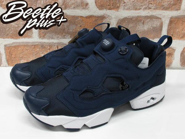 女生 BEETLE REEBOK INSTA PUMP FURY 藍魂 充氣 慢跑鞋 深藍 黑白 V66752 1
