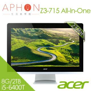 【Aphon生活美學館】Acer Z3-715 23.8吋All in one 觸控液晶電腦 (i5-6400T/8G/2TB/Win10)