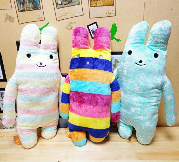 【UNIPRO】法蘭絨 彩虹兔 綿綿兔 條紋兔 馬卡龍色系 長型抱枕 長枕 絨毛娃娃 超柔 超細 超好摸