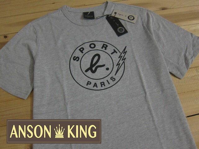 [Anson king]outlet國外代購 agnes b.sport b 閃電 LOGO 短袖 圓領 男款 T恤 灰 0