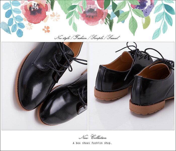 格子舖*【AA7261】MIT台灣製 個性帥氣亮皮 舒適柔軟乳膠墊 休閒綁帶紳士樂福鞋 黑色 1