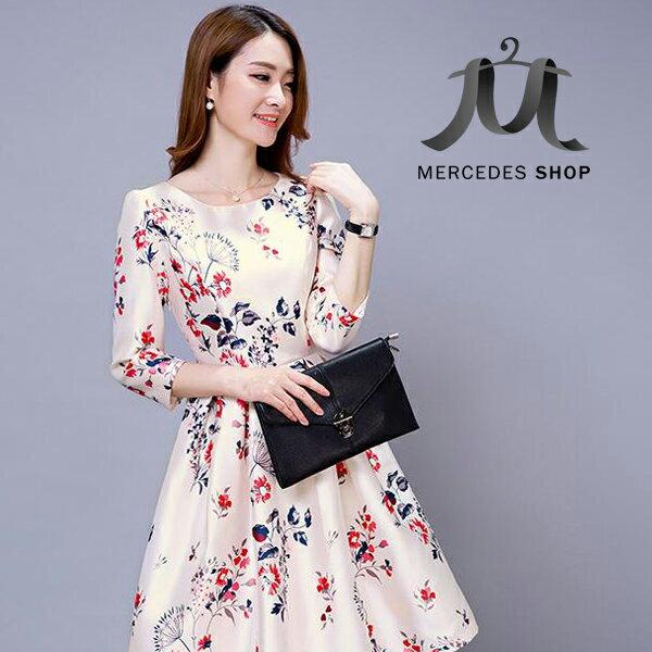 梅西蒂絲 -百褶七分袖洋裝(S-XL)