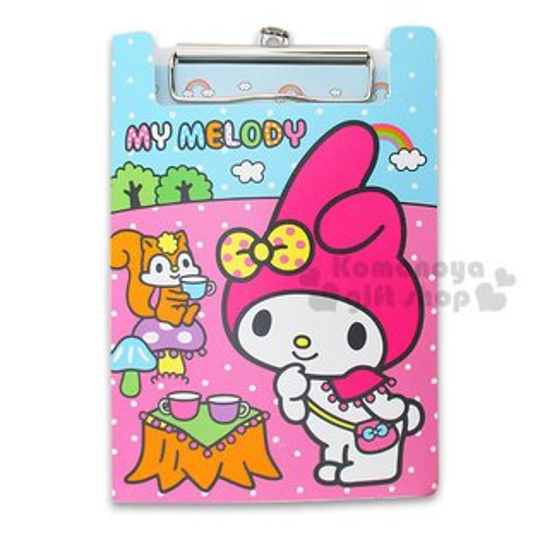 〔小禮堂〕美樂蒂 文件板夾《小.粉藍.側站.野餐.松鼠》附信紙