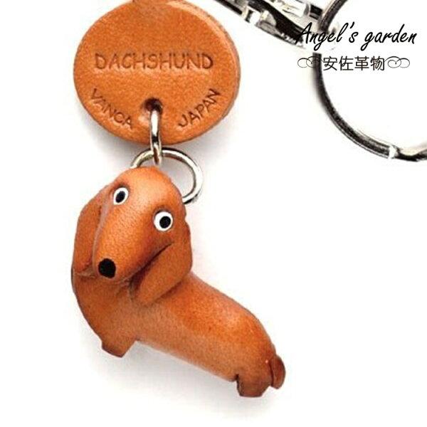 【安佐革物】 臘腸狗-短毛 日本真牛皮 手工小吊飾禮物 鑰匙圈 56722 Dachshund