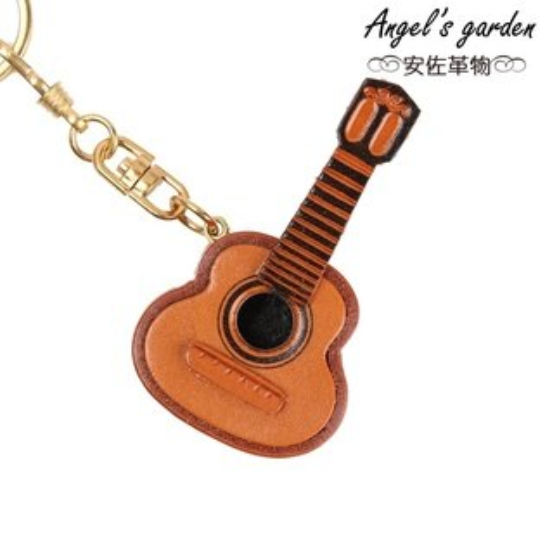 【安佐革物】吉他 日本真牛皮 手工特吊飾禮物 鑰匙圈  【Angel's garden 】 56123