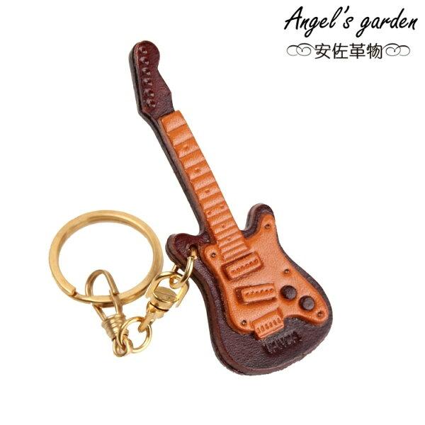 【安佐革物】電吉他 日本真牛皮 手工小吊飾禮物 鑰匙圈 【Angel's garden 】 56888