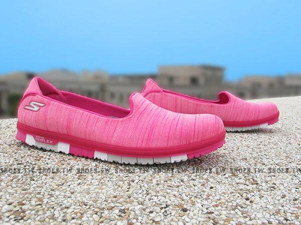 Shoestw【14009HPK】SKECHERS健走鞋 輕便鞋 GoFlex 桃紅水洗 瑜珈鞋墊 淺鞋背 女款