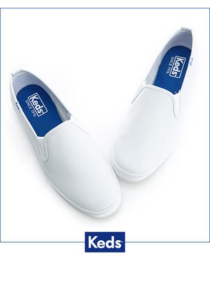 Keds 經典升級皮質休閒便鞋-白 4