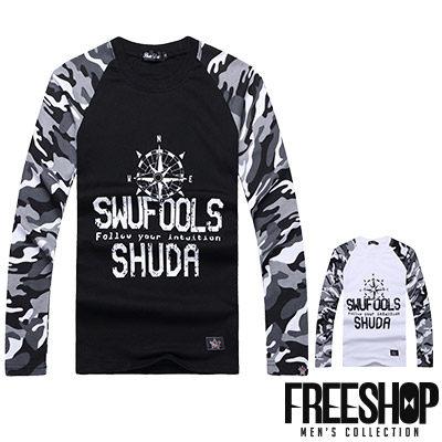 Free Shop【QR95005】日韓風格撞色迷彩拼接指南針印花圓領棉質長T長袖上衣潮T 二色