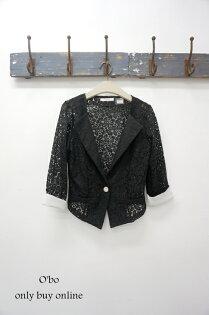 [[O'bo Studio]] 特價 正韓 個性蕾絲抓腰身短版單扣西裝外套