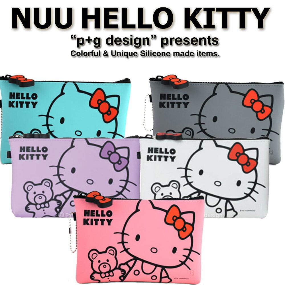 日本進口 p+g design NUU X HELLO KITTY 繽紛矽膠拉鍊零錢包 - 粉紫灰綠白5色可選 0