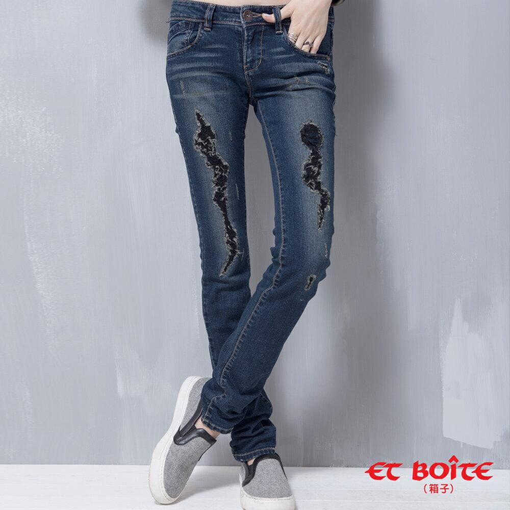【ET BOîTE 箱子】 個性黑破低腰窄直褲 0