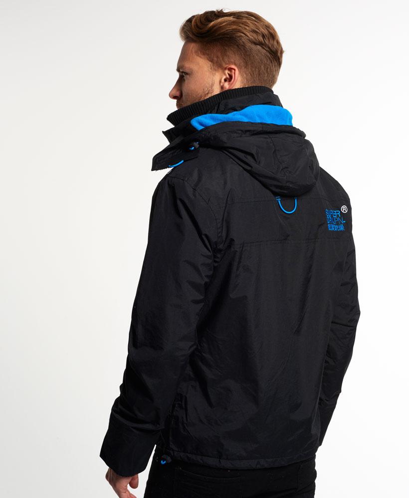 [男款] Outlet英國 極度乾燥 Pop Zip Hooded系列 男款 三層拉鍊 連帽防風衣夾克 黑色/登比藍 3