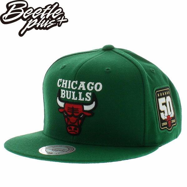 BEETLE MITCHELL&NESS NBA BULLS 芝加哥 綠 公牛 5O周年 刺繡 SNAPBACK 後扣帽 MN-399 - 限時優惠好康折扣