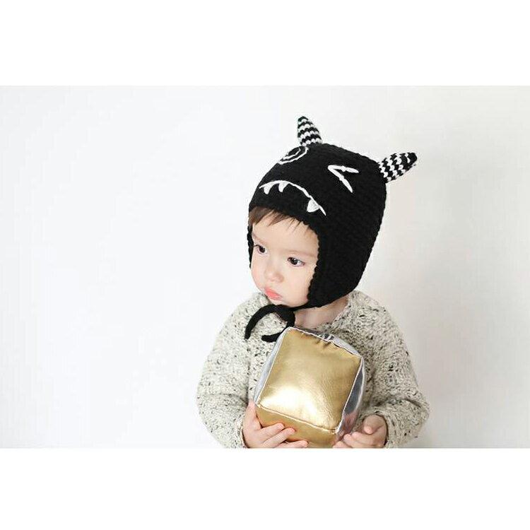 毛帽 萌卡通可愛綁帶針織毛線帽【YJM-A160】 BOBI  10/13 2
