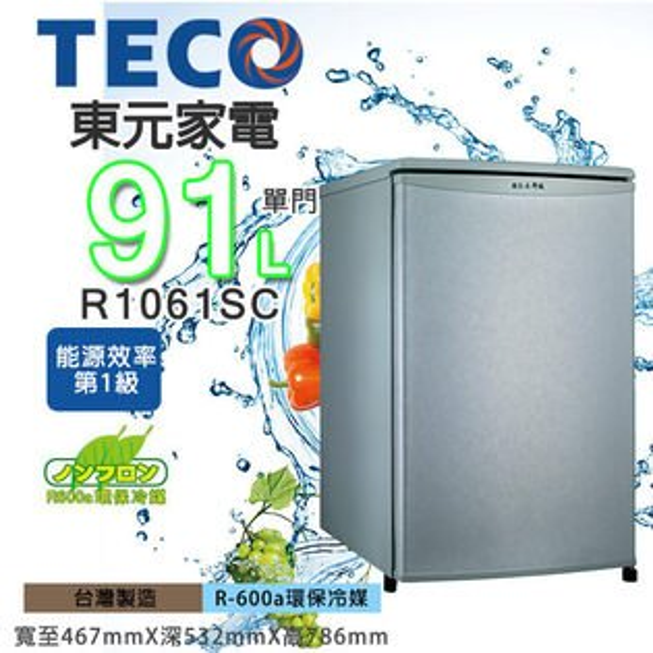 TECO 東元 91公升單門小冰箱 R1061SC / R1061LA 外宿 小資族