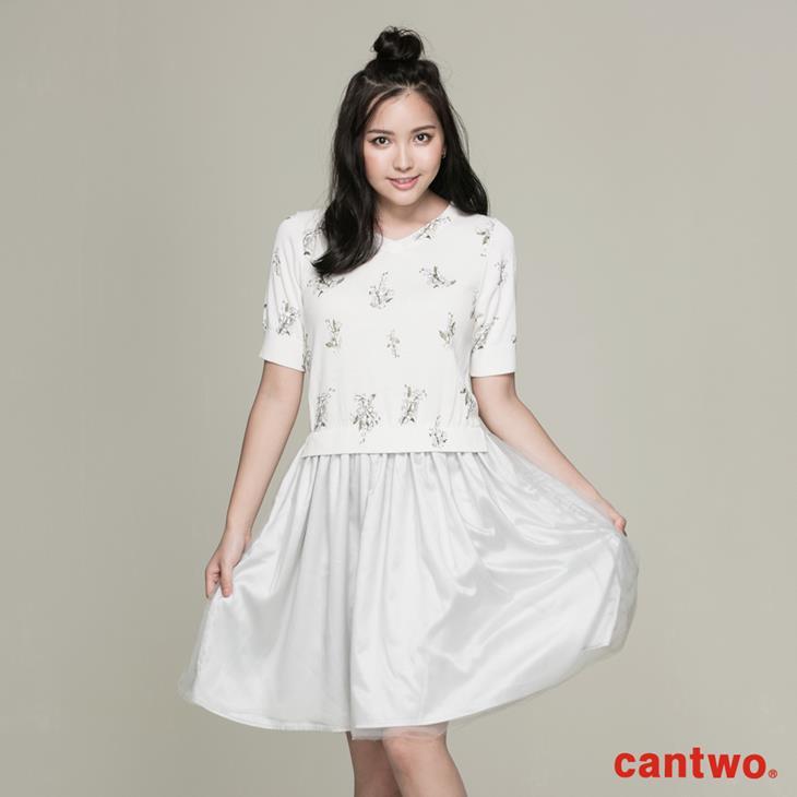 cantwo滿版印花針織洋裝(共二色) 0