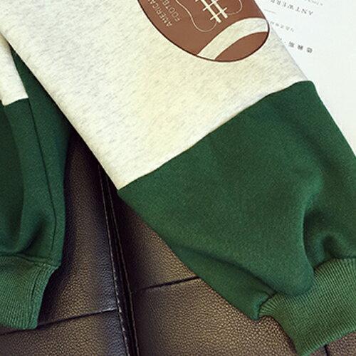 上衣 - 撞色手肘橄欖球貼布寬鬆內刷毛長袖T恤【29171】藍色巴黎《2色》現貨 + 預購 2