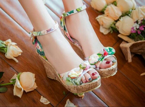 Pyf ♥ 日系田園風 甜美蝴蝶結 防水台厚底系帶涼鞋 42 43大尺碼女鞋