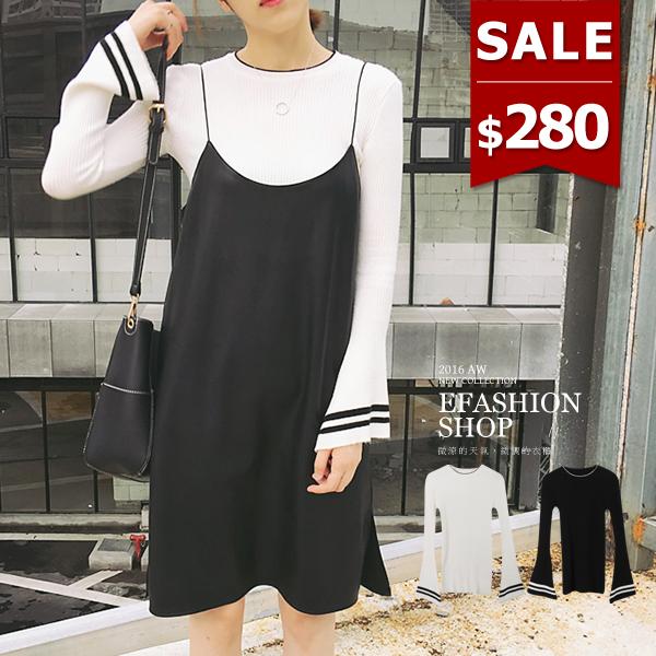針織杉-高圓領滾邊喇叭袖針織上衣-eFashion 預【E17120380】