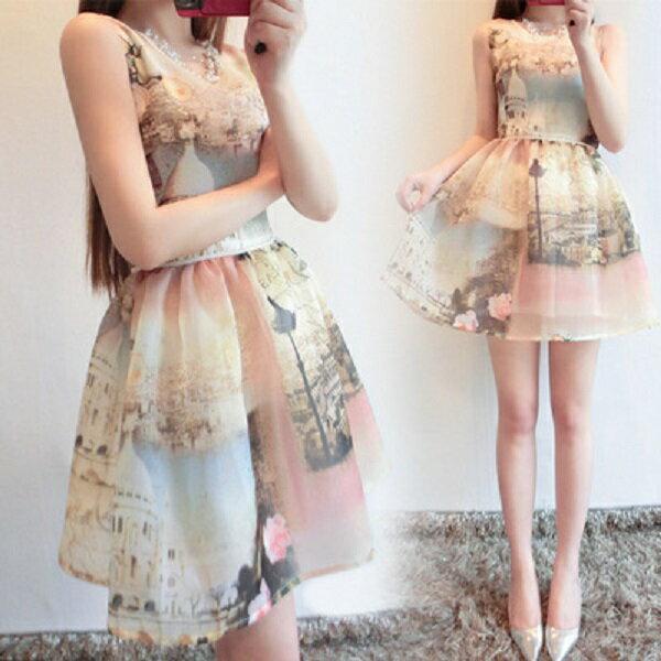 PS Mall 歐根紗雪紡城市風景印花連身裙 無袖連身洋裝【T206】