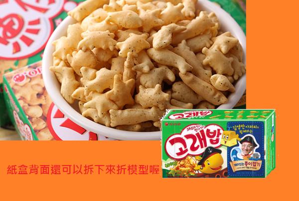 有樂町進口食品 韓國進口 好麗友 海洋動物餅-海苔口味(40g)